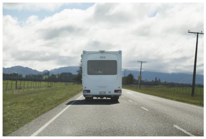 Campervan on the road to Hamner Springs